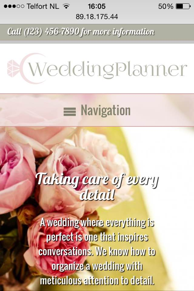 mobile phone screenshot Wedding Planner WordPress Theme