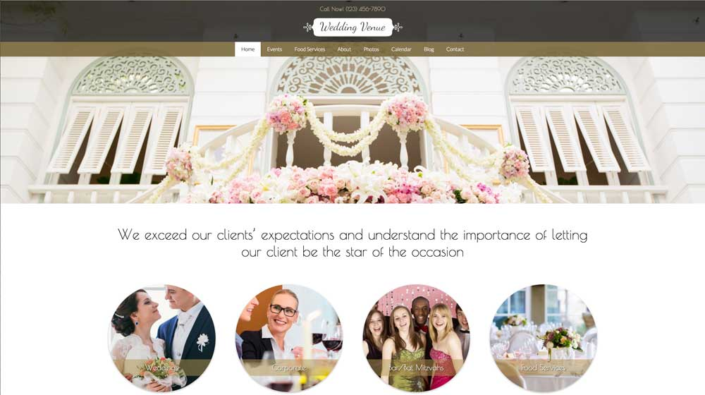 desktop screenshot Wedding Venue WordPress Theme