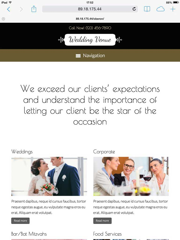 tablet screenshot Wedding Venue WordPress Theme