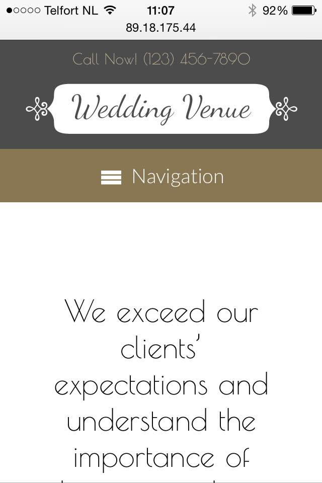 mobile phone screenshot Wedding Venue WordPress Theme