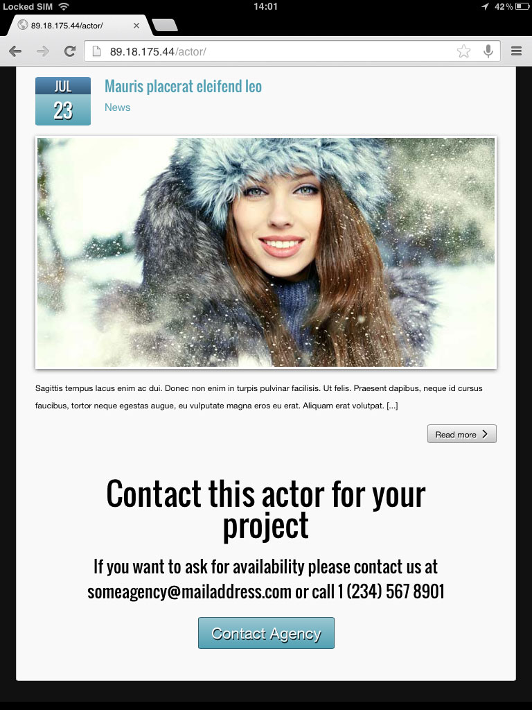 tablet screenshot Actor WordPress Theme