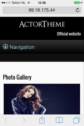 mobile phone screenshot Actor WordPress Theme