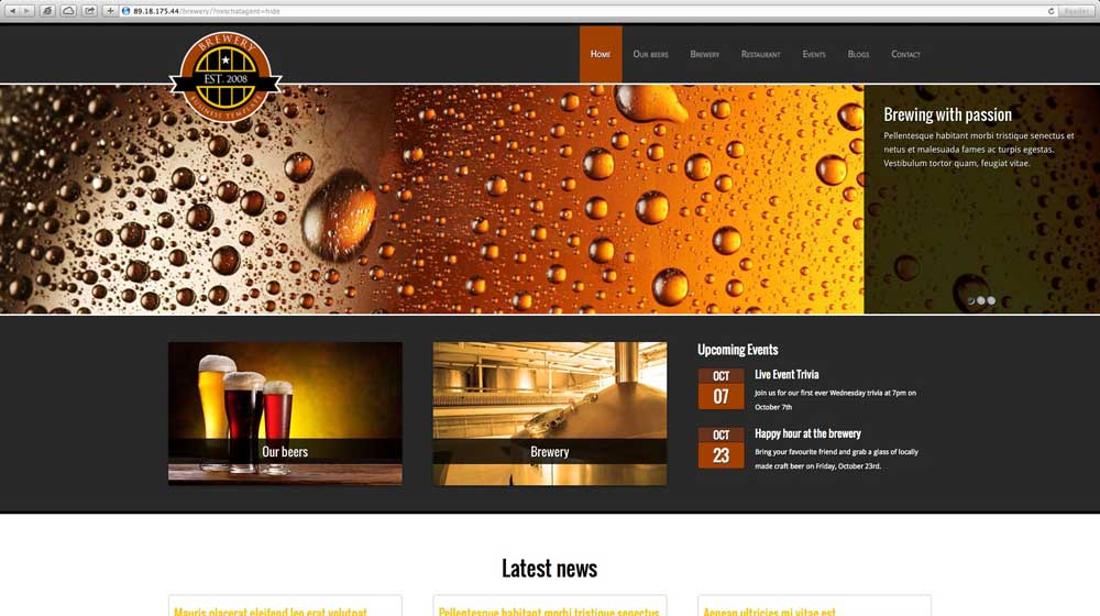 desktop screenshot Brewery WordPress Theme