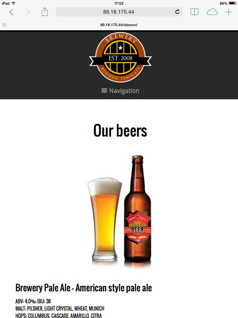 tablet screenshot Brewery WordPress Theme