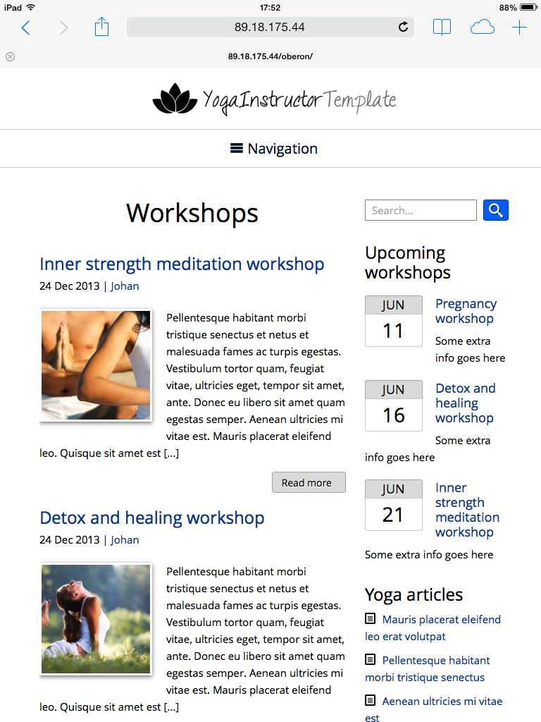tablet screenshot Asana WordPress Theme