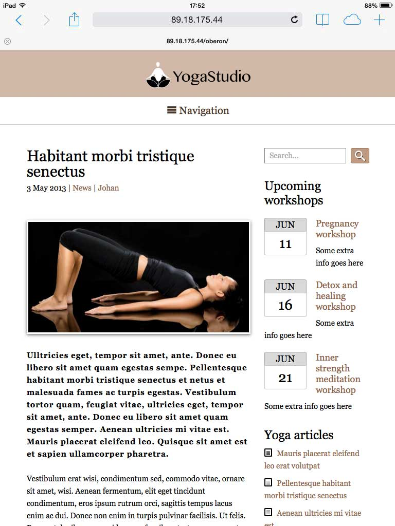 tablet screenshot Yoga WordPress Theme