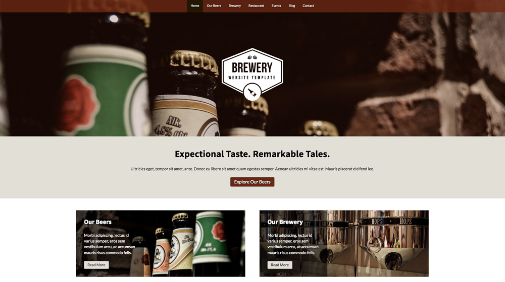 desktop screenshot Beer WordPress Theme