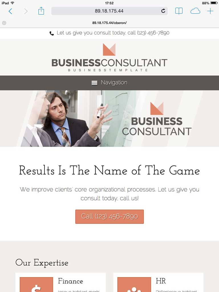 tablet screenshot Business Consultant WordPress Theme