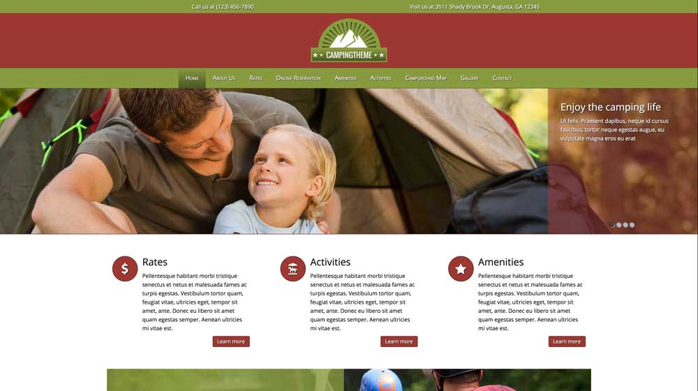 desktop screenshot Camping WordPress Theme