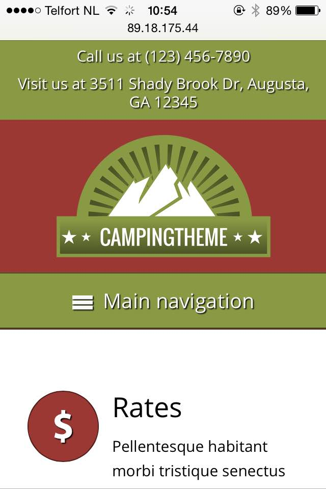 mobile phone screenshot Camping WordPress Theme
