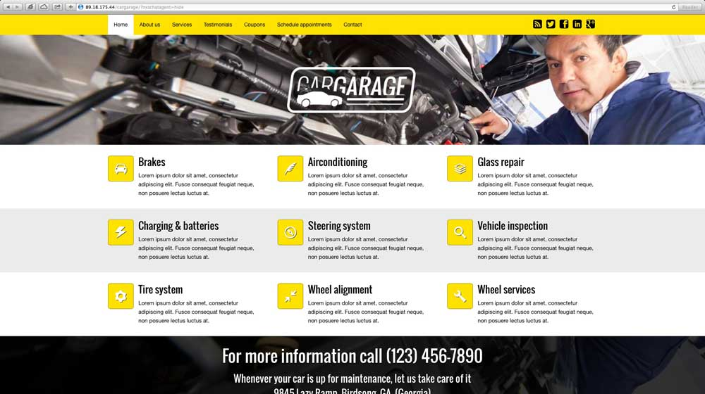 desktop screenshot Car Garage WordPress Theme