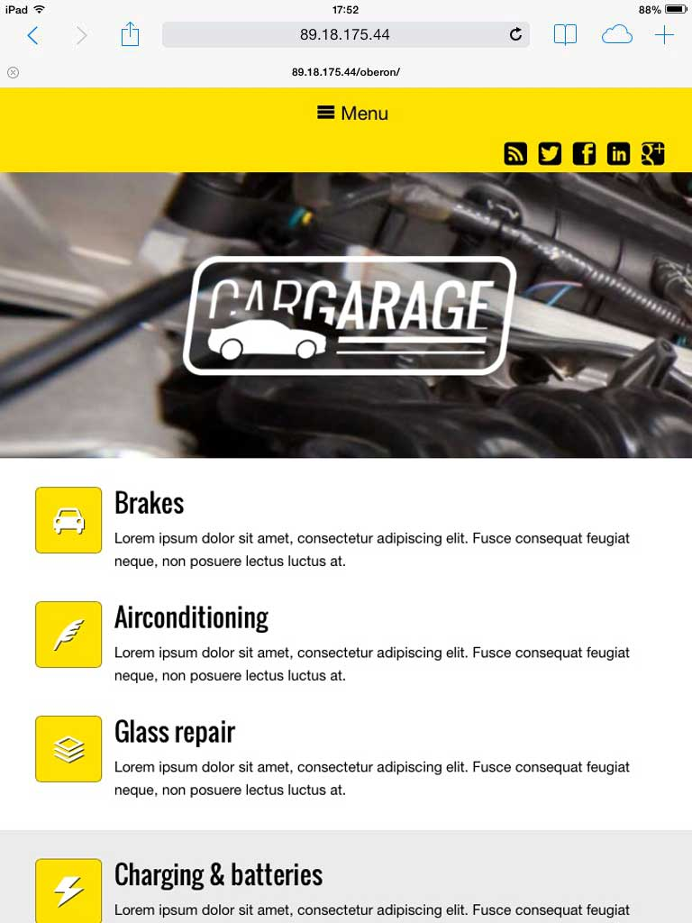 tablet screenshot Car Garage WordPress Theme