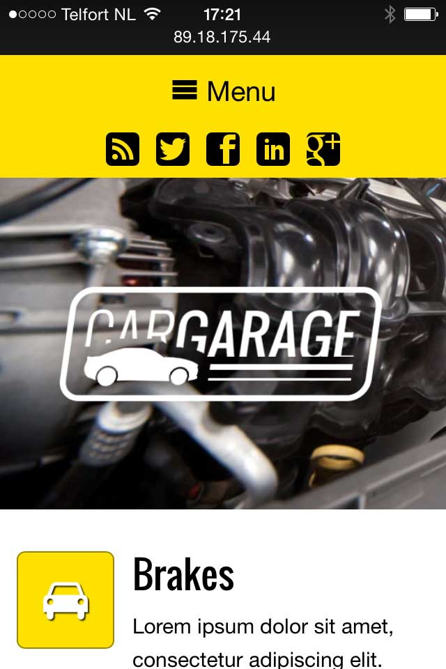 mobile phone screenshot Car Garage WordPress Theme