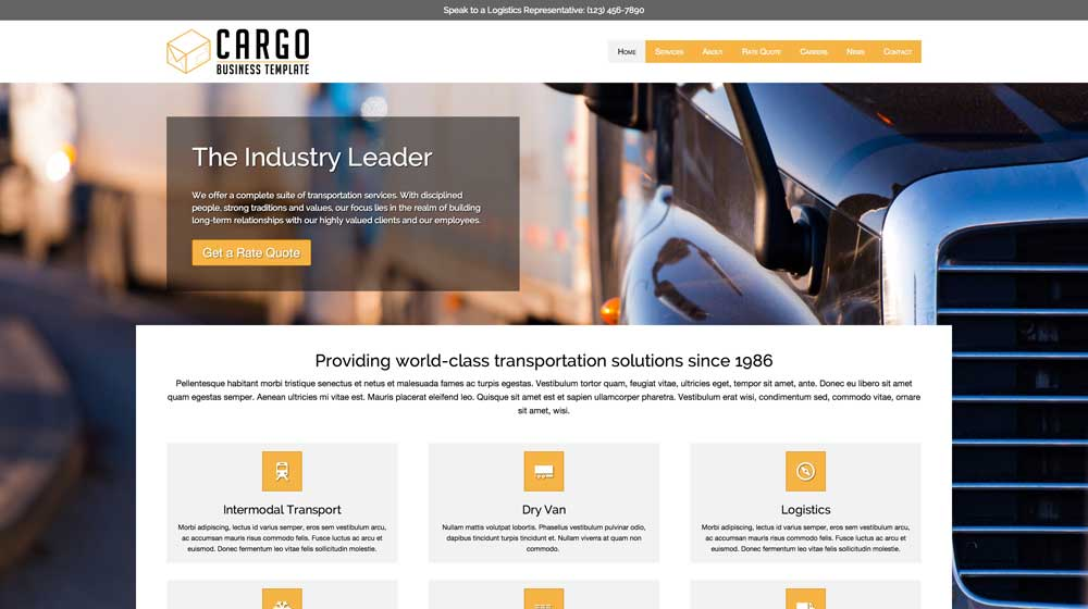 desktop screenshot Cargo WordPress Theme