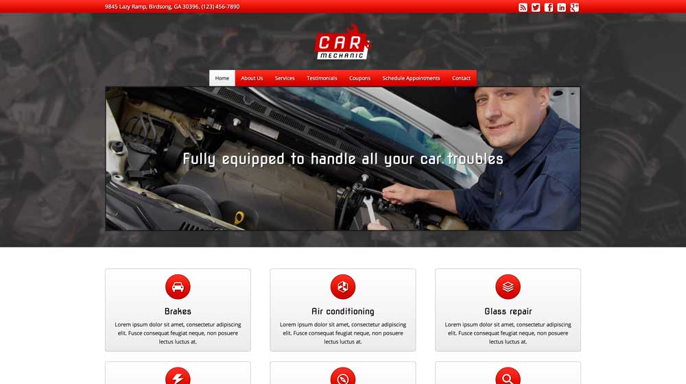 desktop screenshot Car Mechanic WordPress Theme