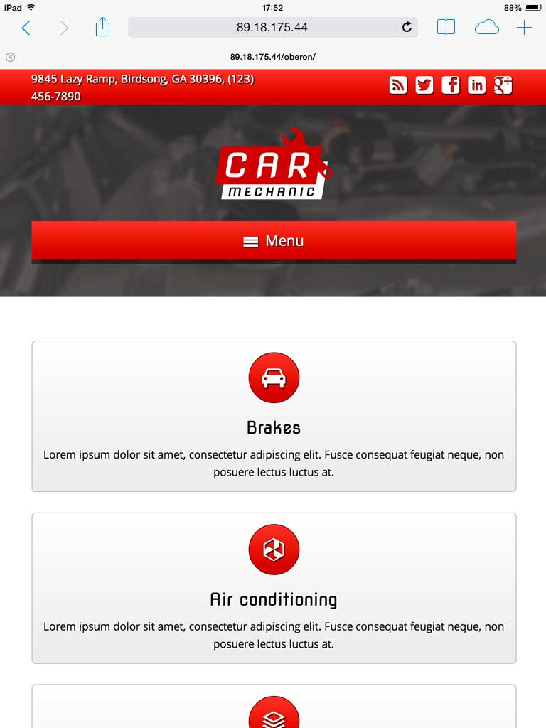 tablet screenshot Car Mechanic WordPress Theme