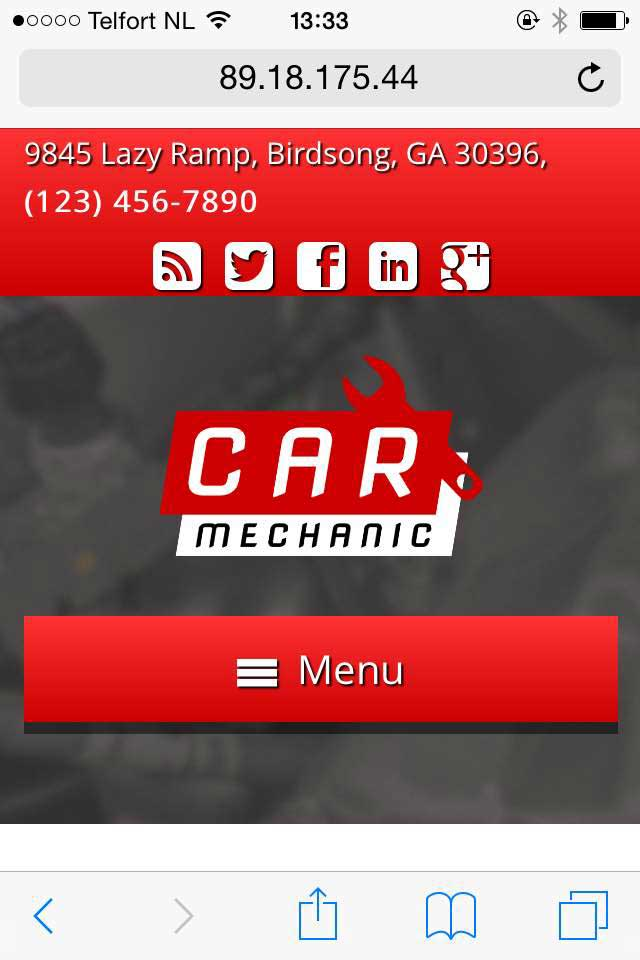 mobile phone screenshot Car Mechanic WordPress Theme