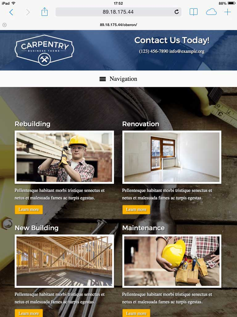 tablet screenshot Carpentry WordPress Theme