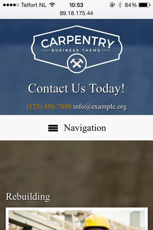 mobile phone screenshot Carpentry WordPress Theme