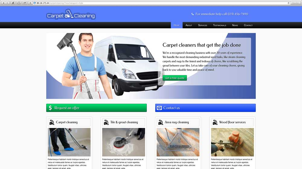 desktop screenshot Carpet Cleaning WordPress Theme