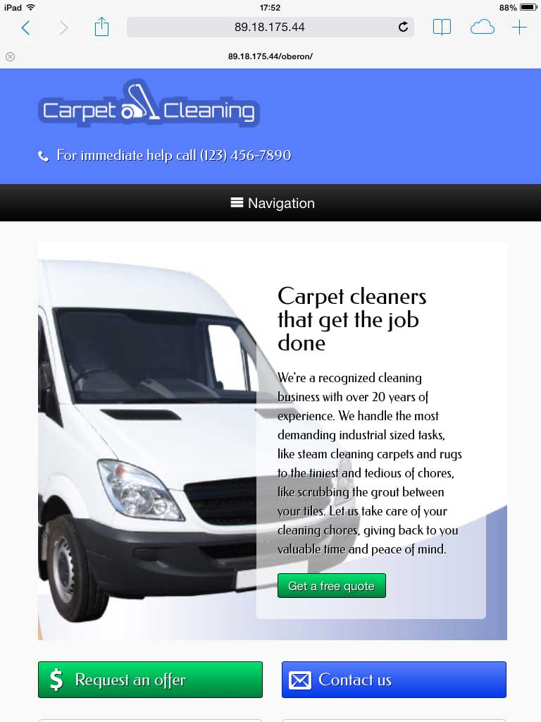tablet screenshot Carpet Cleaning WordPress Theme
