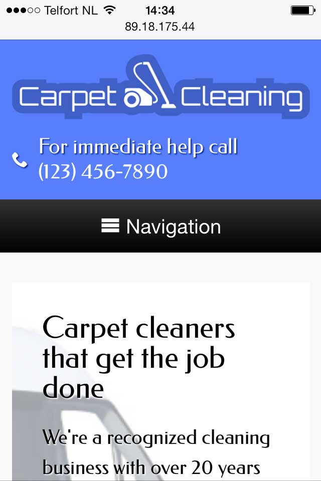 mobile phone screenshot Carpet Cleaning WordPress Theme