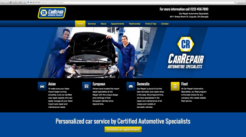 desktop screenshot Car Repair WordPress Theme