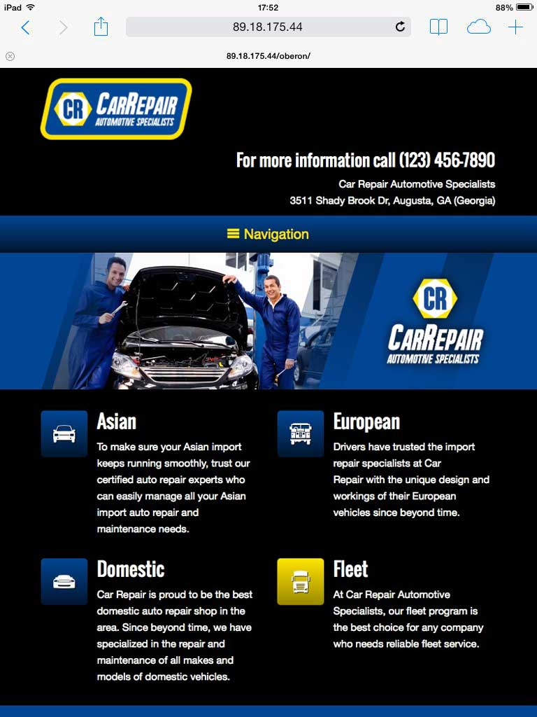 tablet screenshot Car Repair WordPress Theme