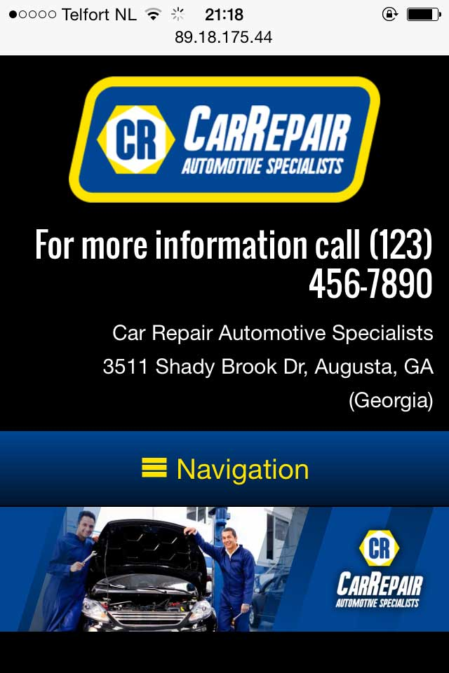 mobile phone screenshot Car Repair WordPress Theme