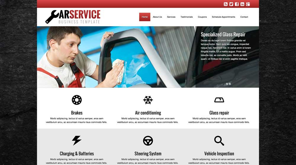 desktop screenshot Car Service WordPress Theme