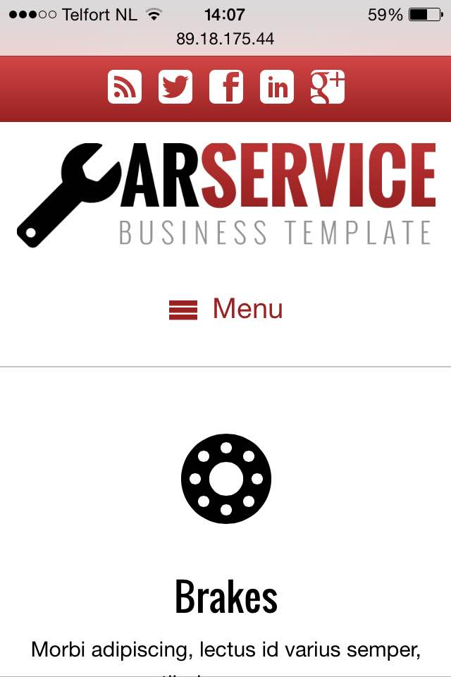 mobile phone screenshot Car Service WordPress Theme