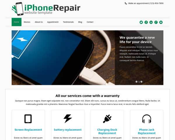 iPhone Reparatie WordPress Theme thumbnail