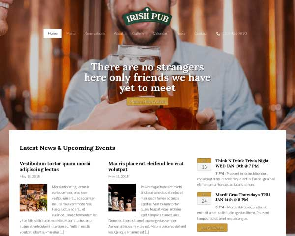 Irish Pub WordPress Theme thumbnail