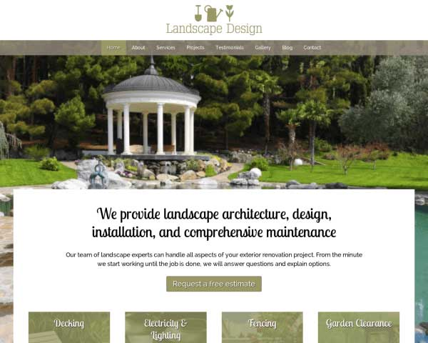 Landscape Design Wordpress Theme Web Template For Landscapers