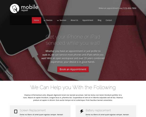 Smartphone Reparatie WordPress Theme thumbnail