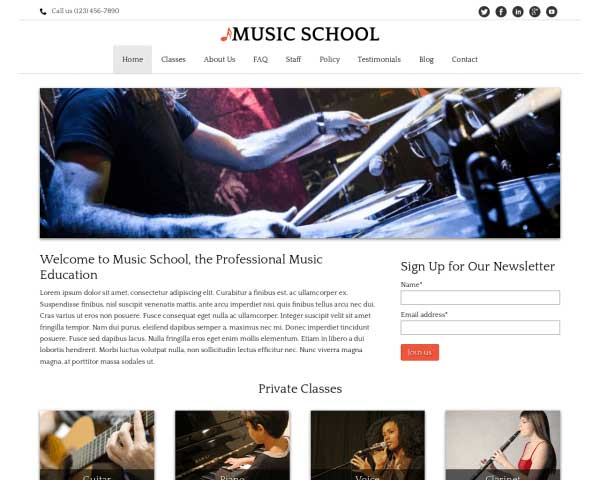 Musiekschool WordPress Theme thumbnail