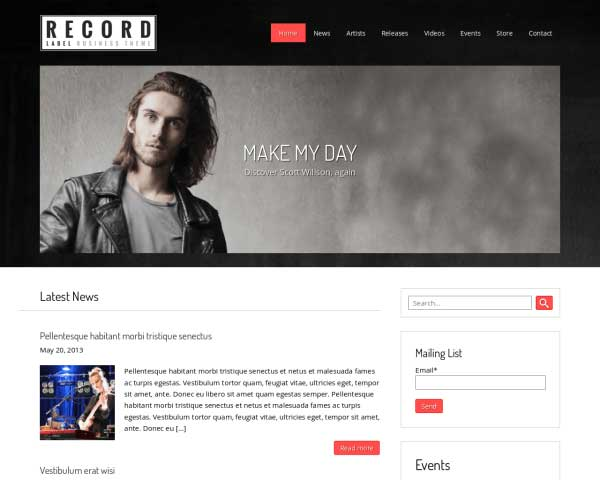 Record Label WordPress Theme thumbnail