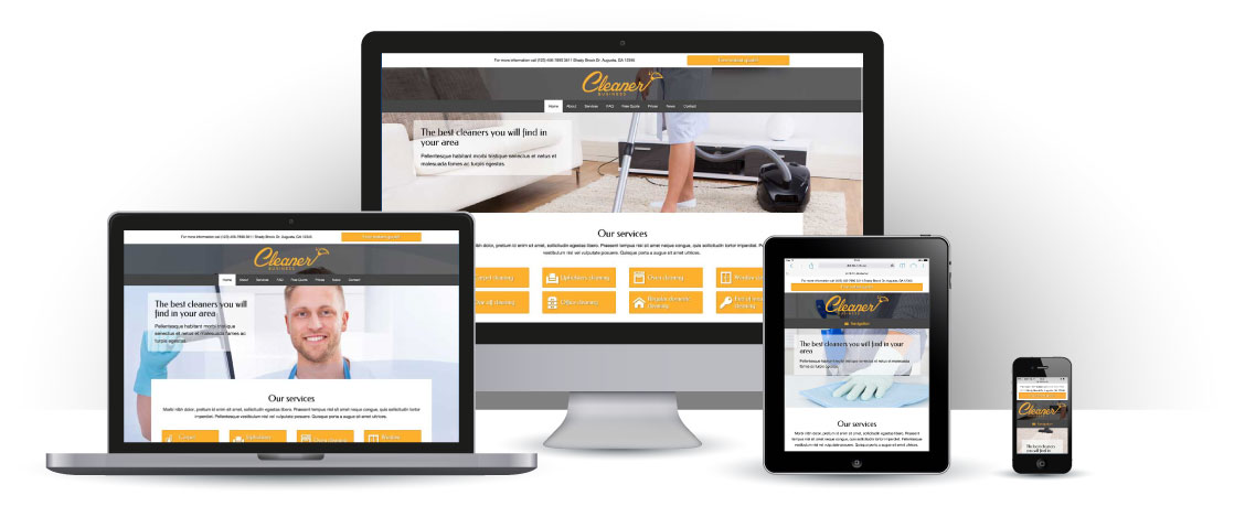 mobile responsive Cleaner Business WordPress Theme