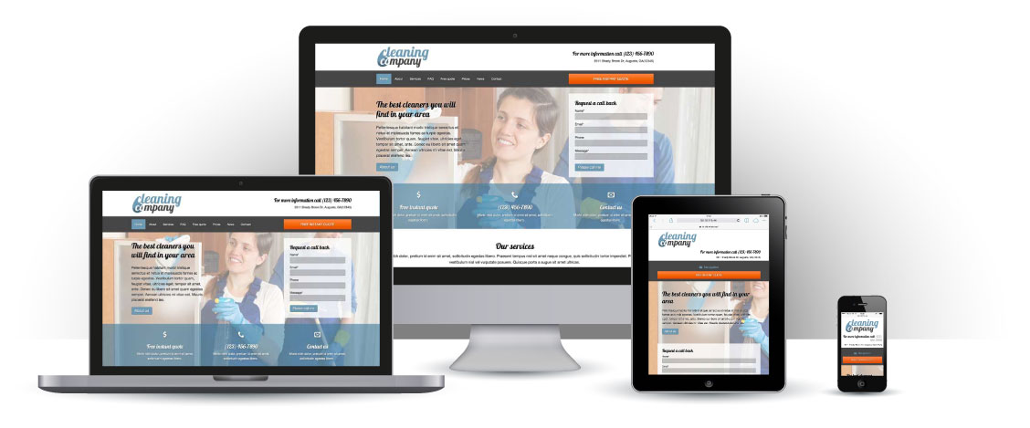 mobile responsive Cleaning Company WordPress Theme