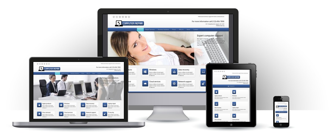 mobile responsive Computer Reparatie WordPress Thema