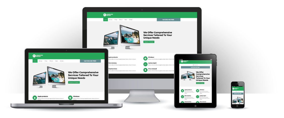 mobile responsive Computer Repair WordPress Theme