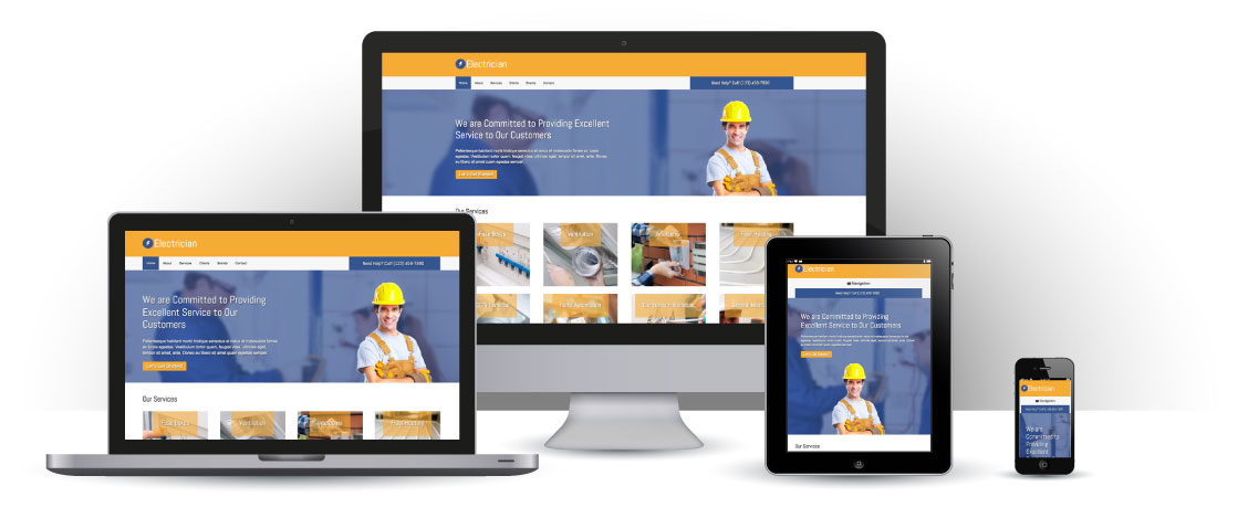 mobile responsive Electrician WordPress Theme