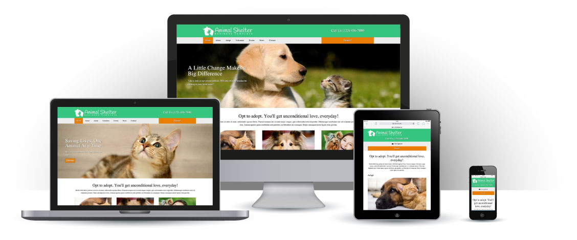 mobile responsive Animal Shelter WordPress Theme