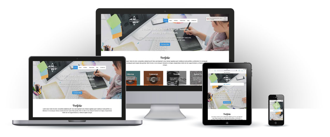 mobile responsive Illustrator WordPress Theme
