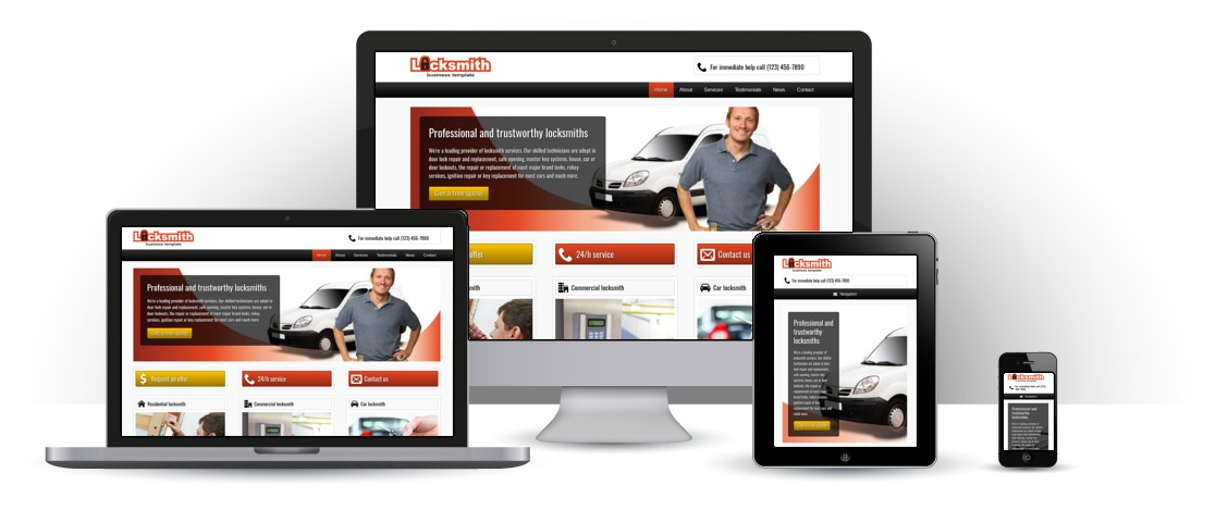 mobile responsive Locksmith WordPress Theme