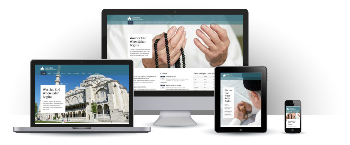 mobile responsive Mosque WordPress Theme