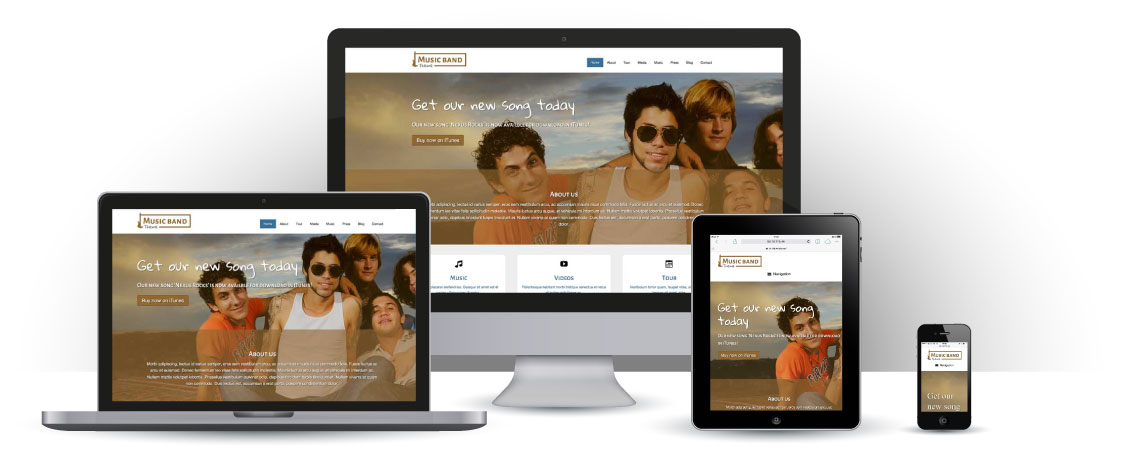 mobile responsive Music Band WordPress Theme
