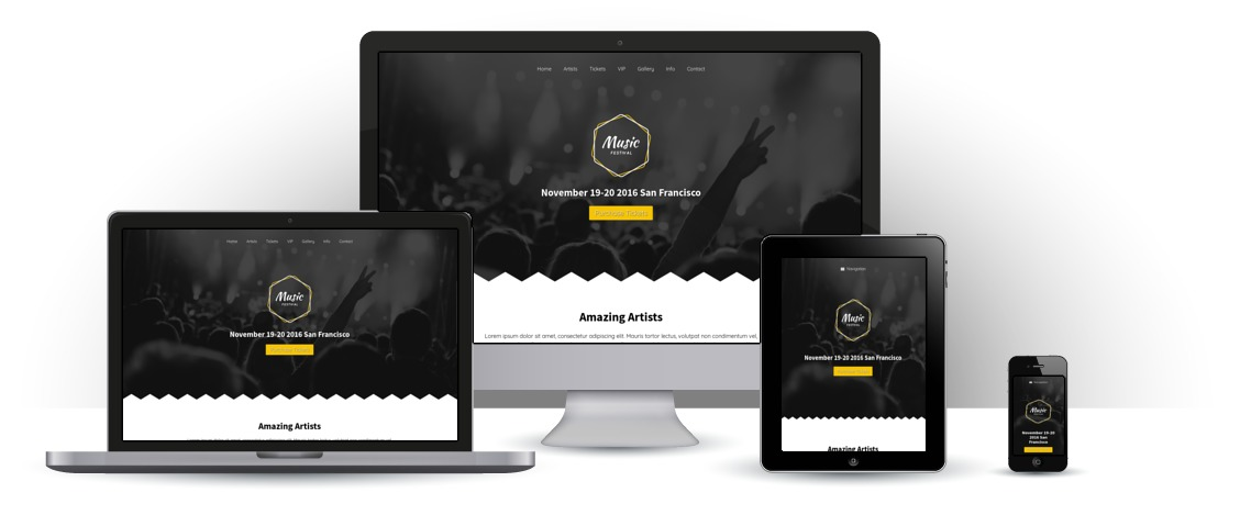 mobile responsive Music Festival WordPress Theme