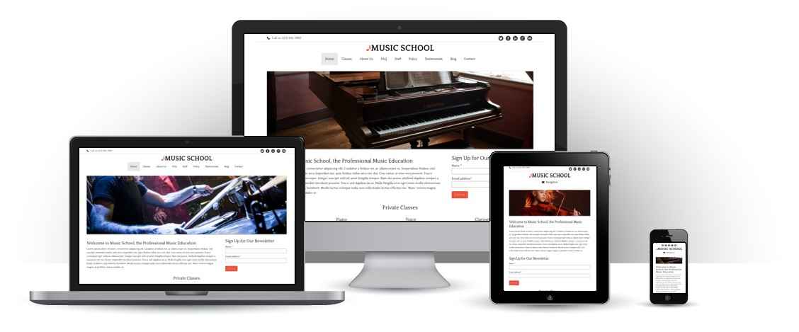 mobile responsive Musiekschool WordPress Thema
