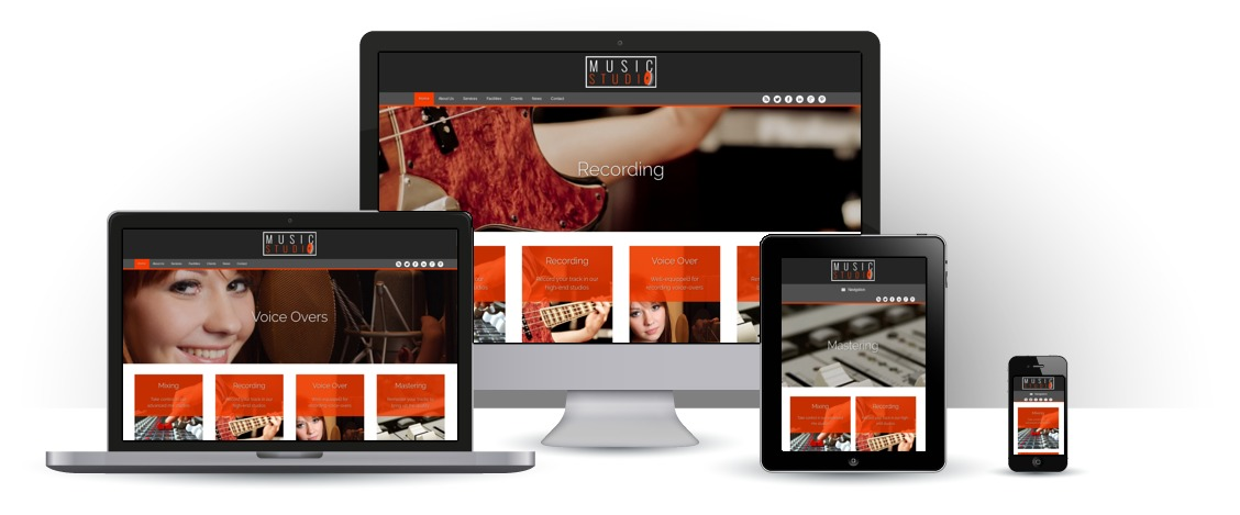 mobile responsive Musiekstudio WordPress Thema